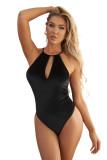 Black Halter Backless Velvet Bodysuit LC32847-2