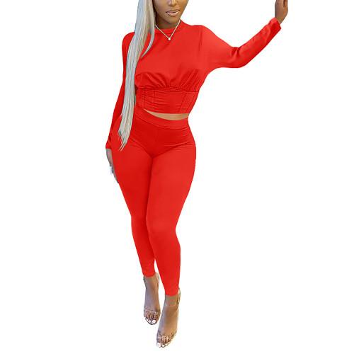 Red Slim Waist Long Sleeve Pant Set TQK710404-3