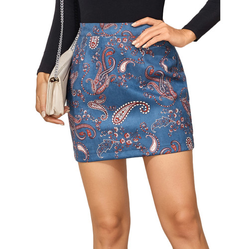 Blue Print Suede Cashew Flowers Mini Skirt TQK360037-5