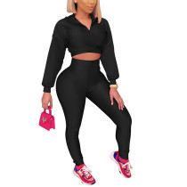 Black Zipper Crop Sweatshirt with Pant Set TQK710403-2