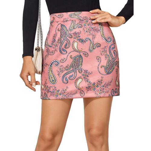 Pink Print Suede Cashew Flowers Mini Skirt TQK360037-10