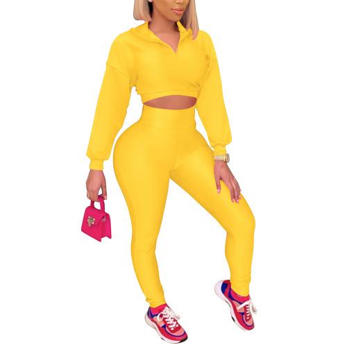 Yellow Zipper Crop Sweatshirt with Pant Set TQK710403-7
