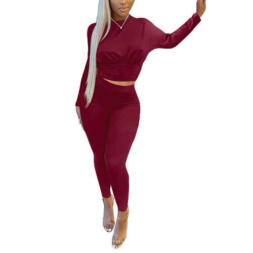 Wine Red Slim Waist Long Sleeve Pant Set TQK710404-23