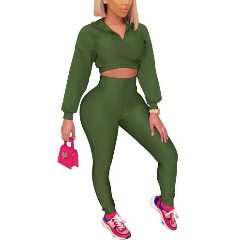 Army Green Zipper Crop Sweatshirt with Pant Set TQK710403-27