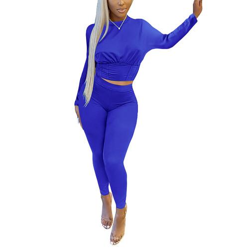 Blue Slim Waist Long Sleeve Pant Set TQK710404-5