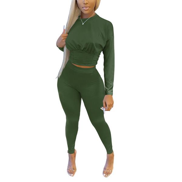 Army Green Slim Waist Long Sleeve Pant Set TQK710404-27