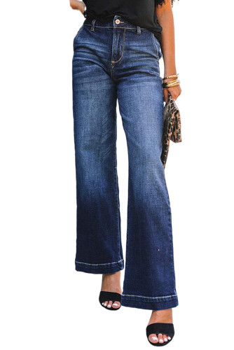 Blue Wide Leg High Rise Jeans LC783298-5