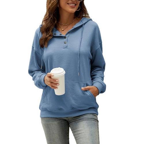 Blue Solid Button Neckline Loose Hoodie TQK230331-5