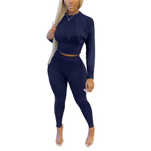 Navy Blue Slim Waist Long Sleeve Pant Set TQK710404-34