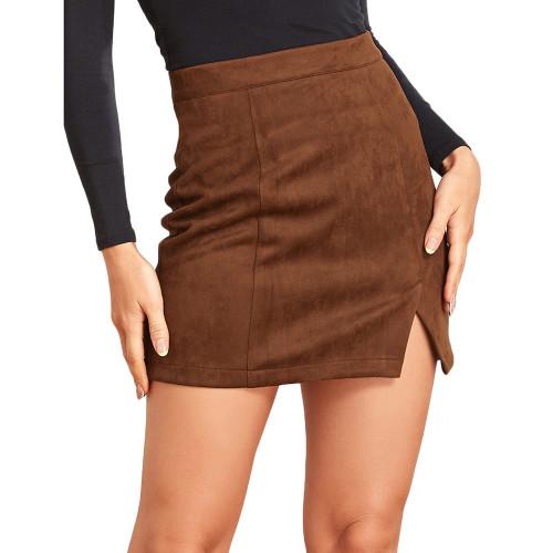 Brown Suede Split High Waist Mini Skirt TQK360036-17