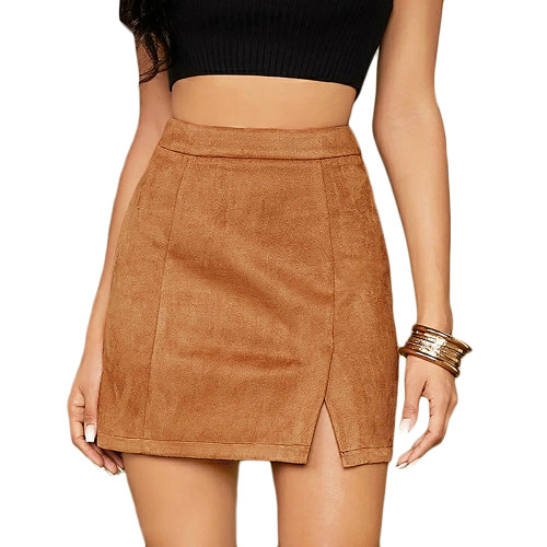Khaki Suede Split High Waist Mini Skirt TQK360036-21