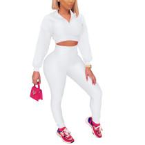 White Zipper Crop Sweatshirt with Pant Set TQK710403-1