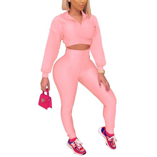Pink Zipper Crop Sweatshirt with Pant Set TQK710403-10