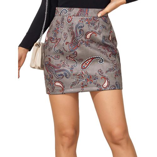 Gray Print Suede Cashew Flowers Mini Skirt TQK360037-11