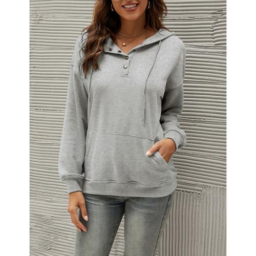 Gray Solid Button Neckline Loose Hoodie TQK230331-11