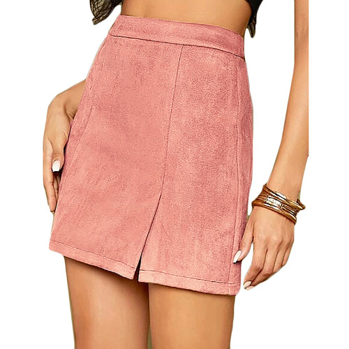 Pink Suede Split High Waist Mini Skirt TQK360036-10