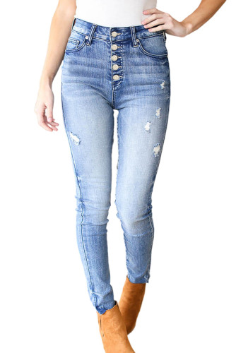 Sky Blue Button Fly Distressed Skinny Jeans LC783331-4
