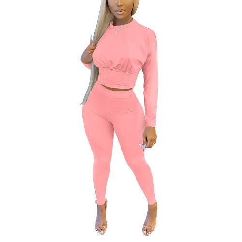 Pink Slim Waist Long Sleeve Pant Set TQK710404-10