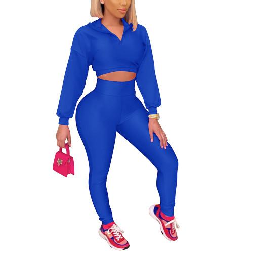 Blue Zipper Crop Sweatshirt with Pant Set TQK710403-5