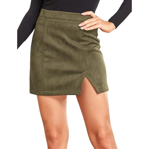 Army Green Suede Split High Waist Mini Skirt TQK360036-27
