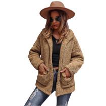 Khaki Double-sided Bubble Fleece Short Coat with Pockets TQK280122-21