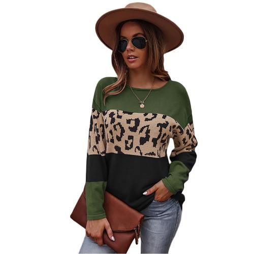 Army Green Black Splice Leopard Soft Warm Sweater TQK271339-27
