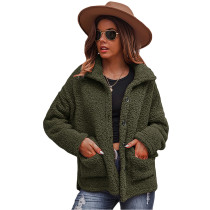 Army Green Double-sided Bubble Fleece Short Coat with Pockets TQK280122-27
