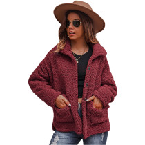 Red Double-sided Bubble Fleece Short Coat with Pockets TQK280122-3