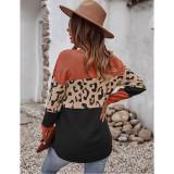 Orange Black Splice Leopard Soft Warm Sweater TQK271339-14
