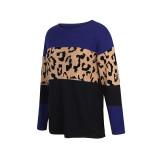 Navy Blue Black Splice Leopard Soft Warm Sweater TQK271339-34