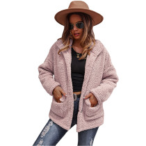 Pink Double-sided Bubble Fleece Short Coat with Pockets TQK280122-10