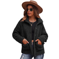 Black Double-sided Bubble Fleece Short Coat with Pockets TQK280122-2