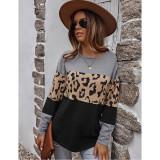 Gray Black Splice Leopard Soft Warm Sweater TQK271339-11