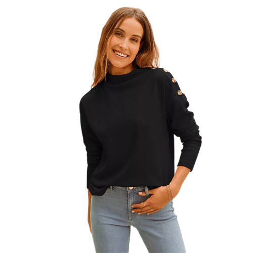 Black Buttons Shoulder Long Sleeve Top TQK210837-2