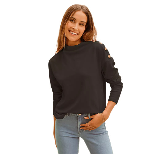 Coffee Buttons Shoulder Long Sleeve Top TQK210837-15