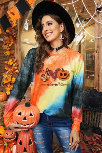Tie-dye Peace Love Halloween Print Woman Sweatshirt LC2539713-14