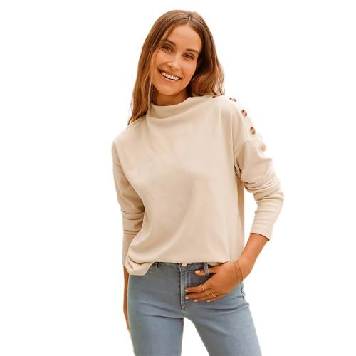 Apricot Buttons Shoulder Long Sleeve Top TQK210837-18