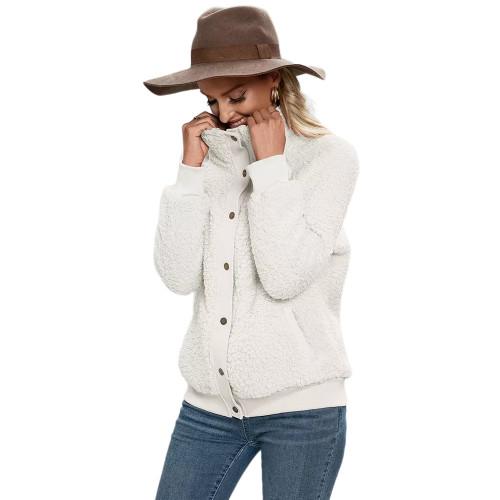 Beige Button-up Stand Collar  Velvet Coat TQK280117-46