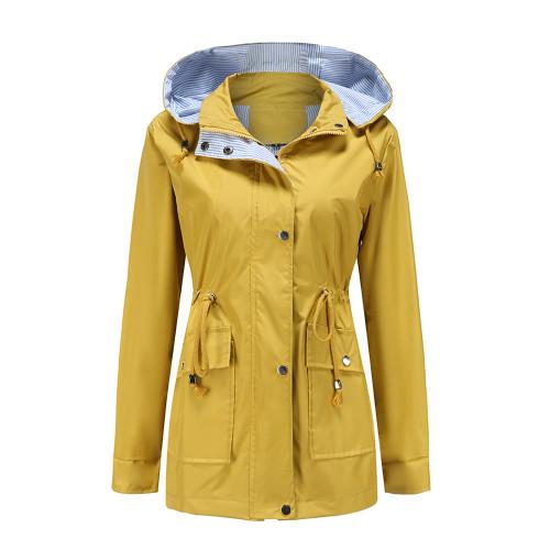Yellow Hooded Detachable Windproof Plus Size Windbreaker TQK280123-7