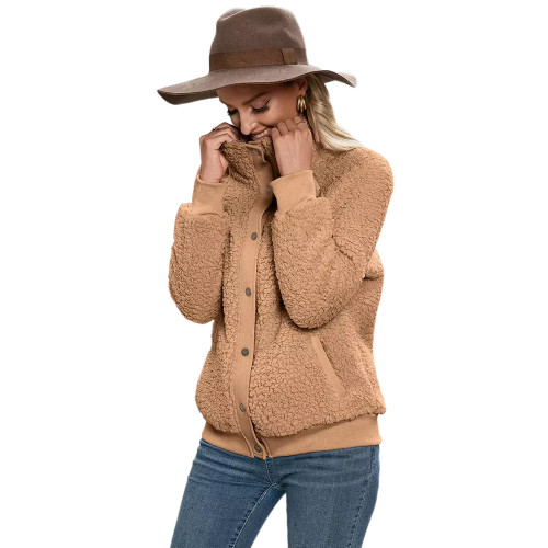 Khaki Button-up Stand Collar  Velvet Coat TQK280117-21