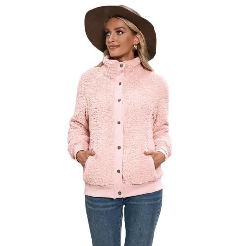 Pink Button-up Stand Collar  Velvet Coat TQK280117-10