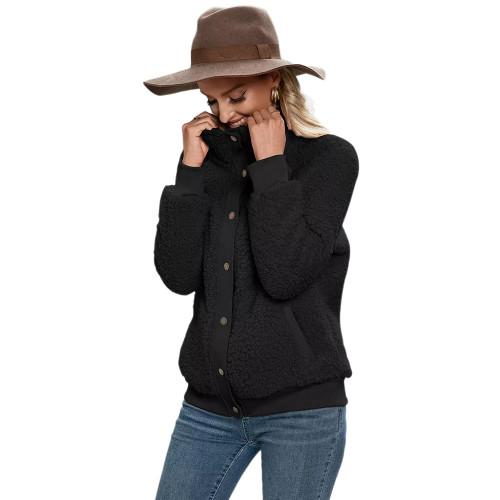 Black Button-up Stand Collar  Velvet Coat TQK280117-2