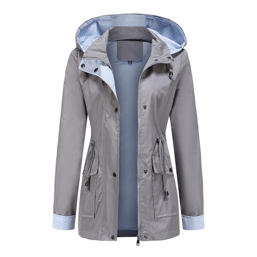 Gray Hooded Detachable Windproof Plus Size Windbreaker TQK280123-11