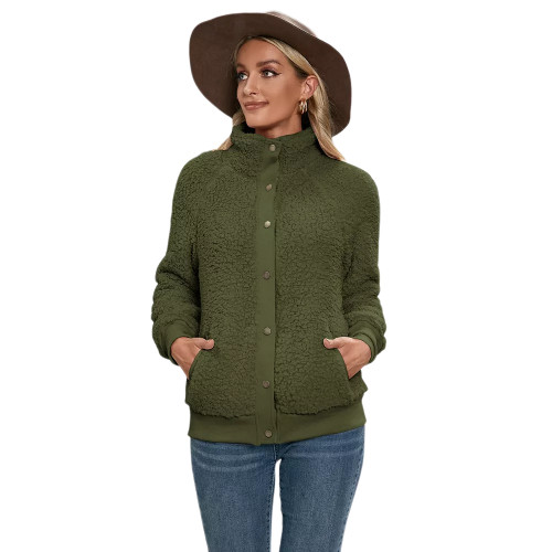 Army Green Button-up Stand Collar  Velvet Coat TQK280117-27