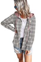 Khaki Drawstring Plaid Hooded Shirt Coat LC8511573-16