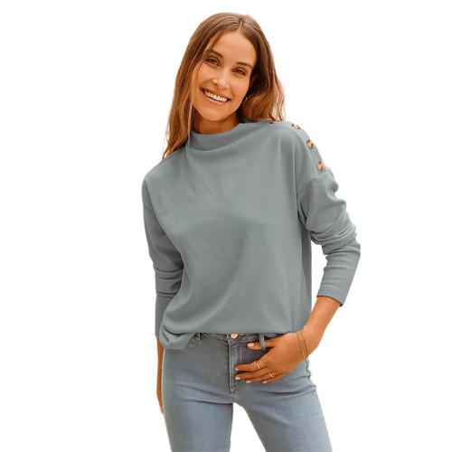 Gray Buttons Shoulder Long Sleeve Top TQK210837-11