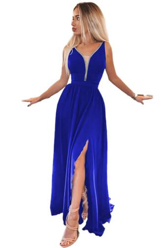 Blue Rhinestone Side Split Deep V Neck Maxi Dress LC617470-5