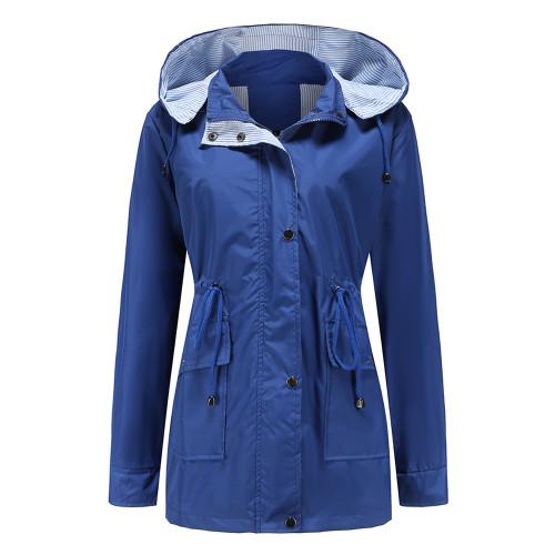 Blue Hooded Detachable Windproof Plus Size Windbreaker TQK280123-5