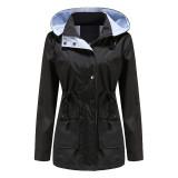 Black Hooded Detachable Windproof Plus Size Windbreaker TQK280123-2
