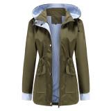 Army Green Hooded Detachable Windproof Plus Size Windbreaker TQK280123-27